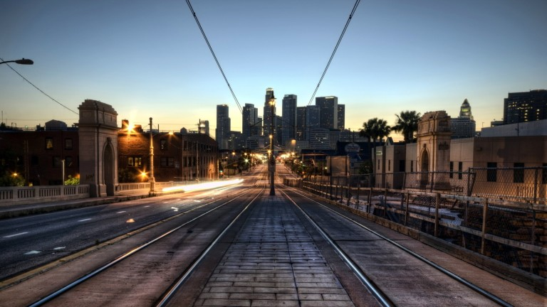Trolley Tracks City Bridge Dawn Light Background Pictures